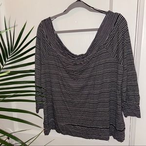 NWT Lucky Black & White Stripe Off-Shoulder Top